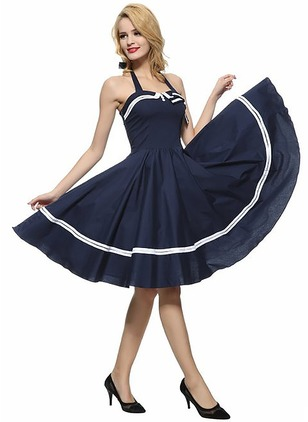 Polyester Solid Sleeveless Knee-Length Vintage Dresses