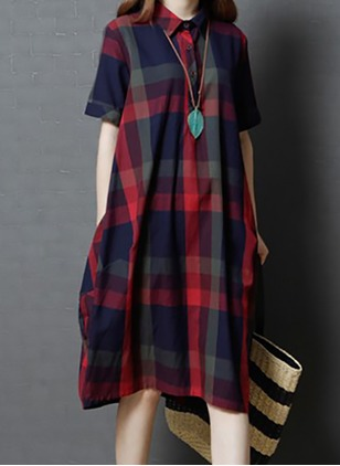 Linen Check Half Sleeve Mid-Calf Casual Dresses
