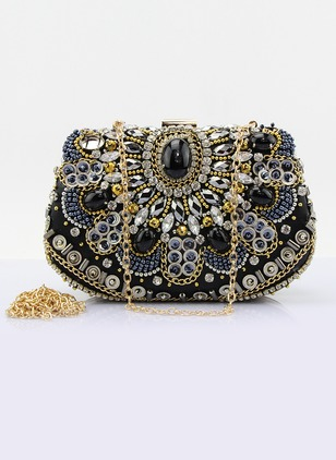 Shoulder Fashion Sparkling Glitter Black Medium Bags