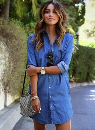 Denim Solid 3/4 Sleeves Above Knee Casual Dresses