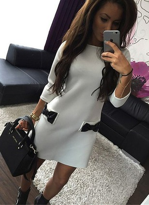 Polyester Color Block Long Sleeve Above Knee Sexy Dresses