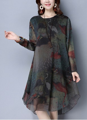 Polyester Floral Long Sleeve Knee-Length Casual Dresses  ...