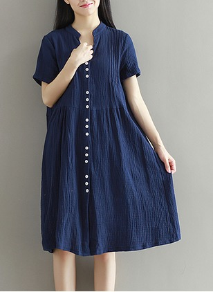 Cotton Solid Short Sleeve Knee-Length Casual Dresses  ...