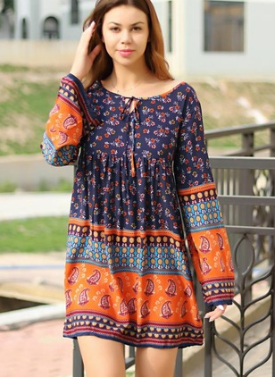 Cotton Blends Geometric Long Sleeve Mini Vintage Dresses
