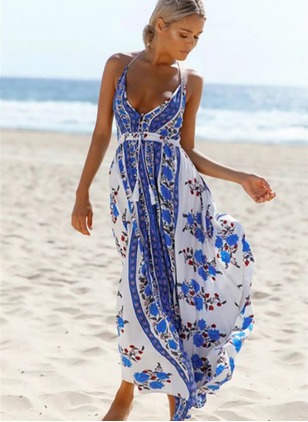 Polyester Floral Sleeveless Maxi Casual Dresses