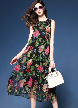 Cotton Floral Sleeveless Knee-Length Elegant Dresses  ...
