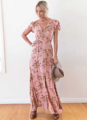 Polyester Floral Cap Sleeve Maxi Casual Dresses