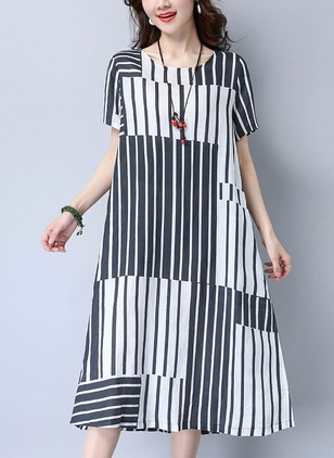 Cotton Color Block Short Sleeve Mid-Calf Casual Dresses  ...