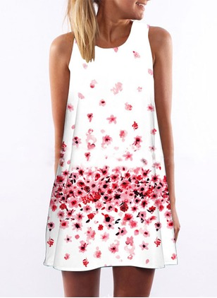 Polyester Floral Sleeveless Above Knee Vintage Dresses  ...