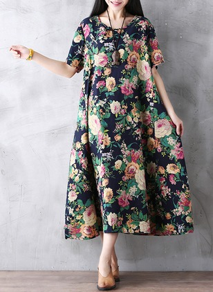 Cotton Blends Floral Half Sleeve Mid-Calf Casual Dresses  ...