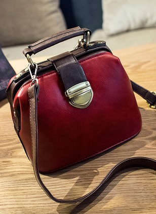 Shoulder Fashion PU Black Burgundy Dark Green Medium Bags