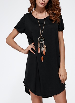 Cotton Solid Cap Sleeve Above Knee Casual Dresses