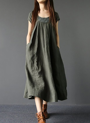Linen Solid Short Sleeve Mid-Calf Casual Dresses