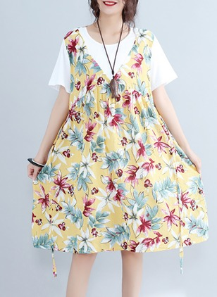 Cotton Cotton Blends Floral Half Sleeve Knee-Length Cute Dresses