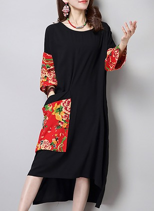 Cotton Linen Floral 3/4 Sleeves High Low Casual Dresses