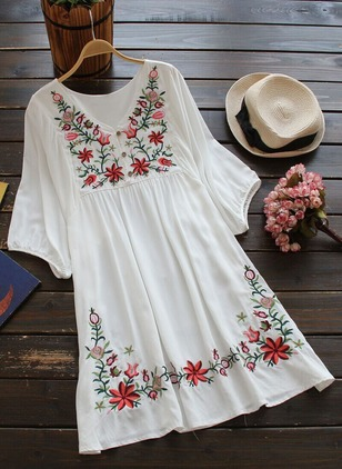 Cotton Floral Half Sleeve Above Knee Casual Dresses