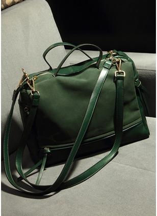 Shoulder Totes Fashion Canvas Black Dark Green Medium Bags