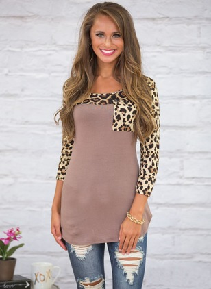 Cotton Leopard Round Neck 3/4 Sleeves Casual T-shirts & Vests