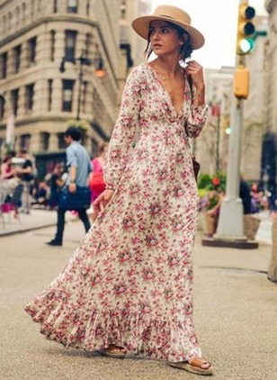 Modal Floral Long Sleeve Maxi Casual Dresses