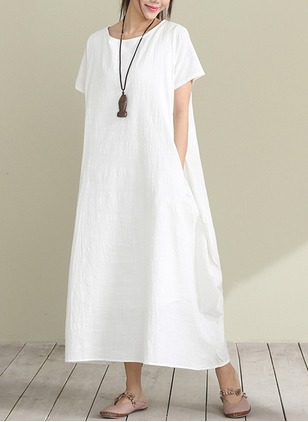 Cotton Solid Short Sleeve Maxi Casual Dresses