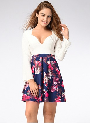 Cotton Floral Long Sleeve Above Knee Cute Dresses