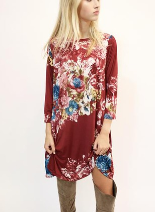 Cotton Floral 3/4 Sleeves Above Knee Casual Dresses
