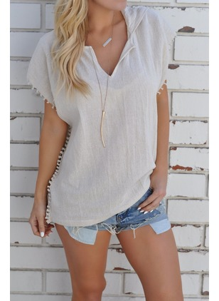 Solid Casual Cotton V-Neckline Cap Sleeve Blouses