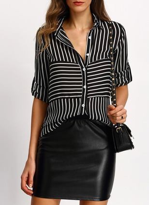 Stripe Casual Cotton Collar Long Sleeve Blouses