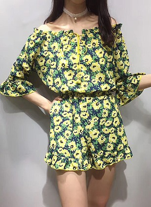 Chiffon Floral 3/4 Sleeves Jumpsuits & Rompers