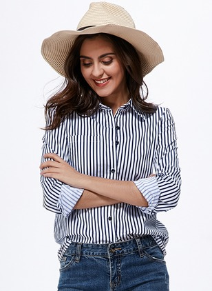 Stripe Casual Polyester Collar Long Sleeve Blouses  ...