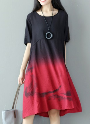 Cotton Color Block Half Sleeve Knee-Length Casual Dresses