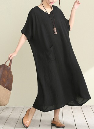 Cotton Solid Half Sleeve Mid-Calf Casual Dresses