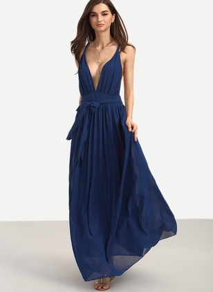 Polyester Solid Sleeveless Maxi Elegant Dresses