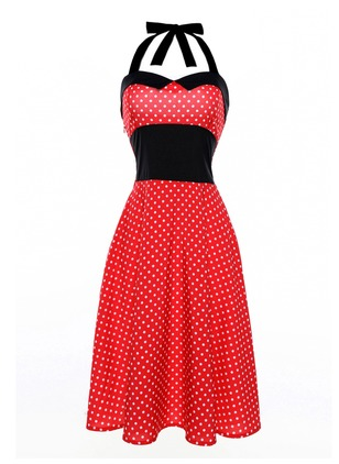 Cotton Polka Dot Sleeveless Knee-Length Casual Dresses