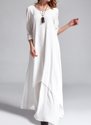 Polyester Solid 3/4 Sleeves Maxi Casual Dresses
