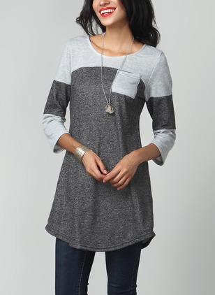 Cotton Color Block Round Neck 3/4 Sleeves Casual T-shirts & Vests