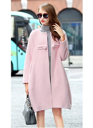 Wool & Wool Blend Polyester Gray Pink Long Long Sleeve Round Neck Coats & Jackets