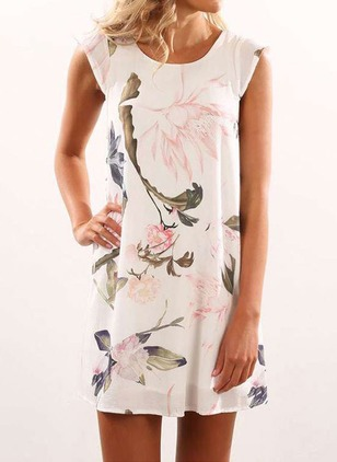Chiffon Floral Sleeveless Above Knee Casual Dresses  ...