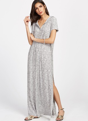 Polyester Spandex Rayon Solid Short Sleeve Maxi Casual Dresses