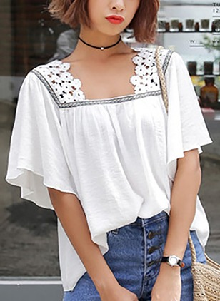Solid Casual Cotton Square Neckline Half Sleeve Blouses