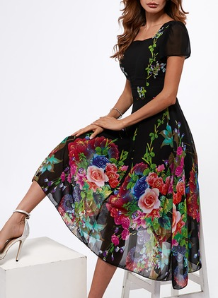 Polyester Floral Short Sleeve Mid-Calf Casual Dresses