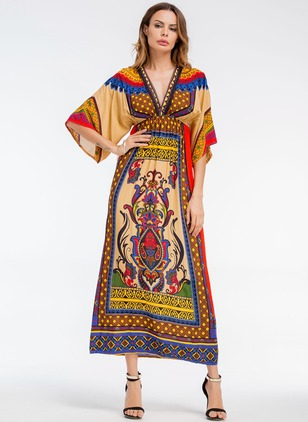 Cotton Geometric Half Sleeve Mid-Calf Vintage Dresses