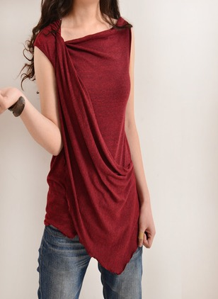 Cotton Polyester Viscose Solid Others Sleeveless Casual T-shirts & Vests
