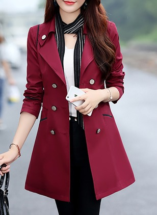 Polyester Black Burgundy Green Khaki Pink Rose Sky Blue Dark Blue Yellow Military Green Long Long Sleeve Collar Coats & Jackets