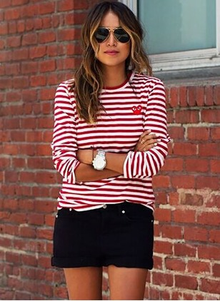 Cotton Stripe Round Neck Long Sleeve Casual T-shirts & Vests