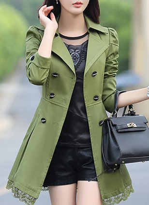 Polyester Black Burgundy Khaki Pink Red Yellow Military Green Long Long Sleeve Lapel Coats & Jackets