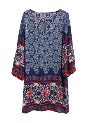 Cotton Blends Geometric Long Sleeve Above Knee Vintage Dresses