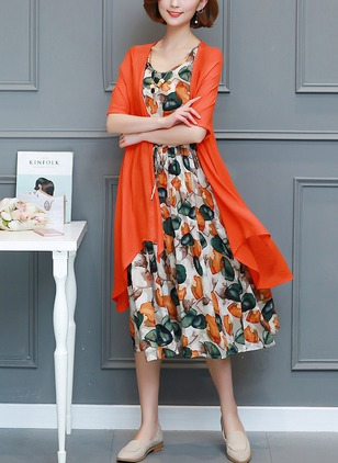 Cotton Floral Half Sleeve Mid-Calf Elegant Dresses  ...