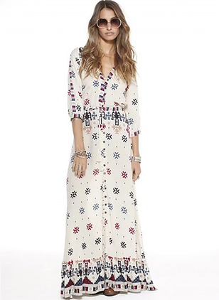 Polyester Floral Half Sleeve Maxi Casual Dresses