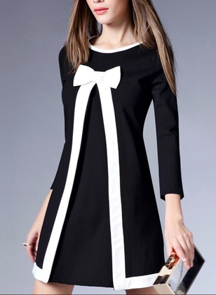 Polyester Linen Solid 3/4 Sleeves Above Knee Casual Dresses